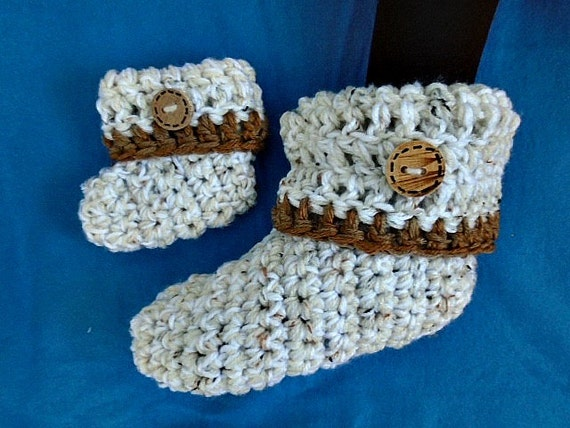 Unisex Baby Booties Free Crochet Pattern : CROCHET PATTERN Unisex booties or slippers newborn to