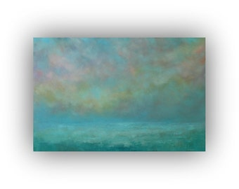 Large Abstract Seascape- 24 x 36 Turquoise and Blue Ocean Sky and Clouds Oil Painting- Original Palette Knife Art on Canvas