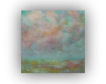 Abstract Field Sky and Clouds Oil Painting- 24 x 24 Green Blue and Pink Art on Canvas- Original Palette Knife Painting