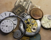 Vintage WATCH PARTS- Lot of Steampunk Jewelry Supply- Porcelain Face- Pocket Watches