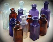 Instant Collection (12) SMALL BOTTLE GROUP -Purple Glass- Amber Brown- Cobalt Blue- Antique Bottle Lot