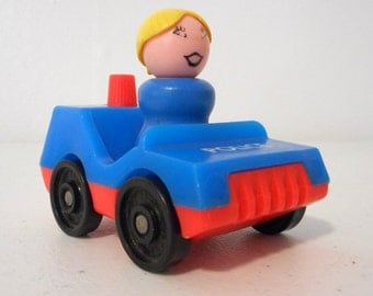 Vintage Fisher Price Little People Police Car And Wood Girl Blonde Ponytail Lot