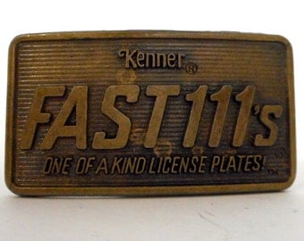 Kenner Die Cast Fast 111's Toy Cars Promotional Belt Buckle Promo License Plates