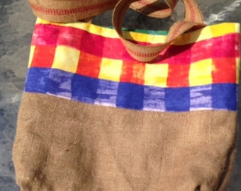 "SALE! Market Tote ""Primary"" cotton lined burlap tote bag"