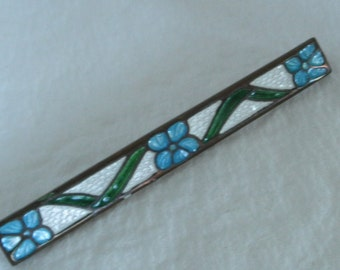 Vintage Art Deco Guilloche Enameled Bar Pin / Brooch, White with Blue Flowers