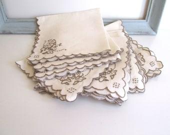 Vintage Dinner Napkins Ecru Linen Taupe Embroidered Flowers Set of Twelve Mid Century