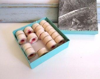 Vintage Cotton Thread Spools Bobbins Ivory Thread American Thread Company