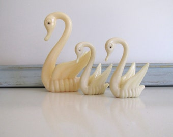 Vintage Mid Century Ivory Swan Family Set of Three