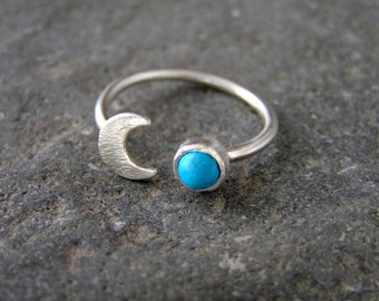Turquoise Crescent Moon Sterling Silver Ring Mineral Turquoise Gemstone Half Moon Ring Boho Ring