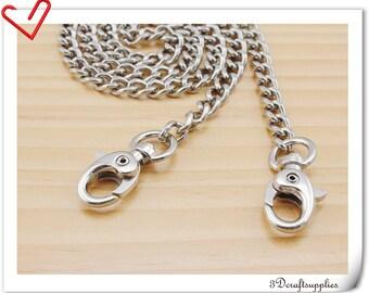 60 cm silver purse chain strap metal cross body bag curb chain  CF30
