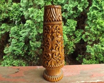 FREE SHIPPING carved wooden vase wood vase art (Vault 19)