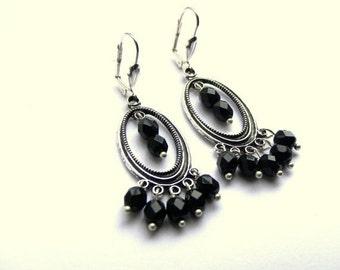 ONSALE Black Earrings, Modern Earrings, Beaded Earrings, Silver Earrings, Modern Jewelry for Women, Beaded Jewelry, Gift Ideas, Top Selling