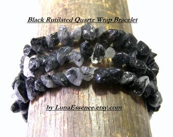 Black Rutilated Quartz Wrap Bracelet   Gemstones Bracelets Black Metaphysical Ethic Tribal Hippie Boho Chic