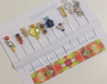Decorative Quilting Pins - Variety Pack - Embellishment Pins - Scrapbook Pins - Sewing Gift - Pincushion Pins - Orphans & Strays - ONE SET