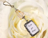 Wedding photo charm for a bridal bouquet. Pink teardrop crystal with small picture frame. Gift for the bride. Bridesmaid gift.