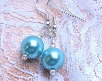 Blue pearl earrings. Bridal jewelry. Blue,ivory or white shell pearl earrings, Bridesmaid Gift. Something blue- Handmade pearl earrings.
