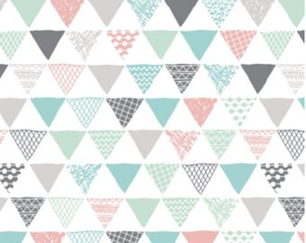 Triangle Fabric - Geometric Tribal Aztec Pastel Pink & Blue Modern Pattern By Little Smile Makers-Cotton Fabric by the Yard with Spoonflower