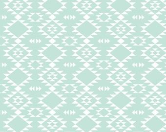 Southwest Tribal Fabric - Mint White By Kimsa - Mint and White Southwestern Boho Cotton Fabric By The Yard With Spoonflower