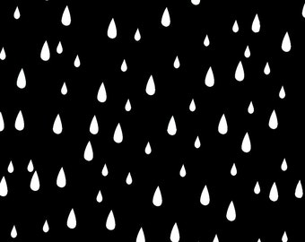 Rain Fabric - Black and White Rain Drops By Kimsa - Children Cotton Fabric By The Yard With Spoonflower