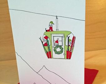 Santa Ski Lift Christmas Cards - set of 8 - READY TO SHIP