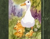 Spring Duck Ducklings ACEO Original Painting - FREE Shipping