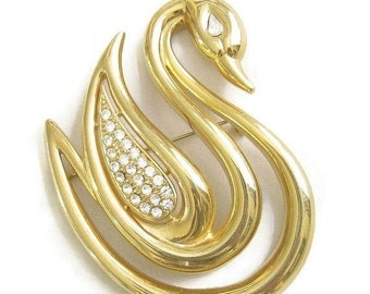 Vintage Lady Remington Large Gold Tone Modernist Style SWAN Brooch with Pave Rhinestones