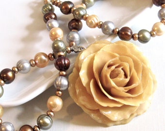 Large Real Rose Pearl Necklace - Cream, Flower Necklace, Real Flower Jewelry, Nature Jewelry, Pearl Necklace, Statement Necklace