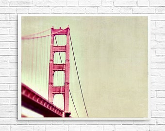 BUY 2 GET 1 FREE San Francisco Photo, Golden Gate Bridge Photo Orange, California Photo, Landscape Photo, Bridge - The Tip of the Bridge