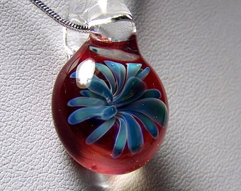 Blue Sea Anemone 3D Flower over Red - Handmade Glass Lampwork Pendant SRA