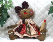 """Primitive Raggedy 2016 """"LITTLE COOKIE""""~rolling pin ornie~12"""" doll!"""