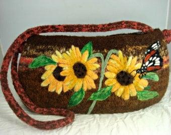 Felted Purse, Felted Handbag, Sunflower Art, Dragonfly Art, Needle Felt Flower