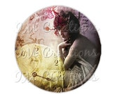 """50% OFF - Pocket Mirror, Magnet or Pinback Button - Wedding Favors, Party themes - 2.25""""- Vintage 1920s Sensual MR108"""