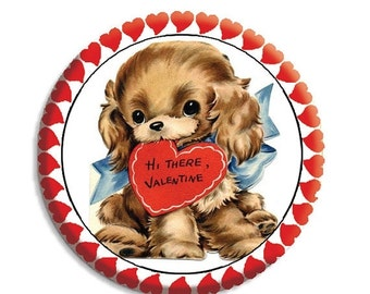 "50% OFF - Valentine Puppy Love Pocket Mirror, Magnet or Pinback Button - Favors - 2.25""-  MR489"