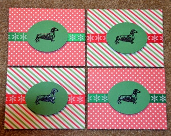 Dachshund Doxie Christmas card set of 8 with envelopes handmade