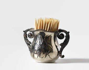 """Antique """"Take Your Pick"""" Toothpick Holder, Meriden Silver Company"""
