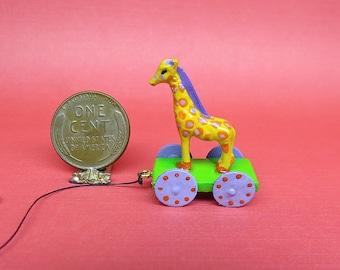 Collector Miniature 1:12 Scale Giraffe Pull TOY OOAK, Nursery, Toy Shop