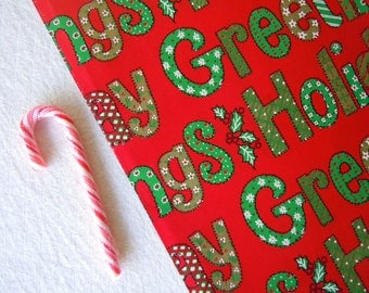 Vintage 1970s Christmas Wrapping Paper | Red Green Gift Wrap Paper with Holiday Greetings