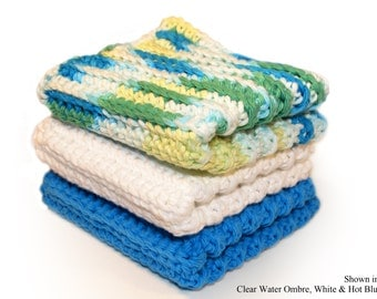 Blue Washcloths, Cotton Dishcloths, Crocheted Cotton Washcloths, Kitchen Dishcloths, Bath Washcloths, CHOICE of COLORS, Made to Order