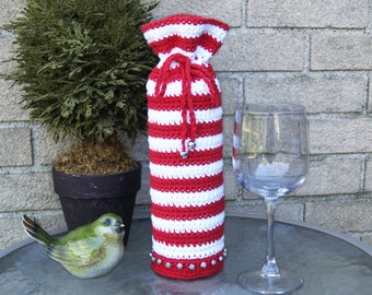 Striped Wine Bottle Holder - Crocheted, Cozy, CUSTOM, CHOICE of COLORS, Candy Cane, Christmas, Red, White, Jingle Bells, Beads, Cotton Yarn
