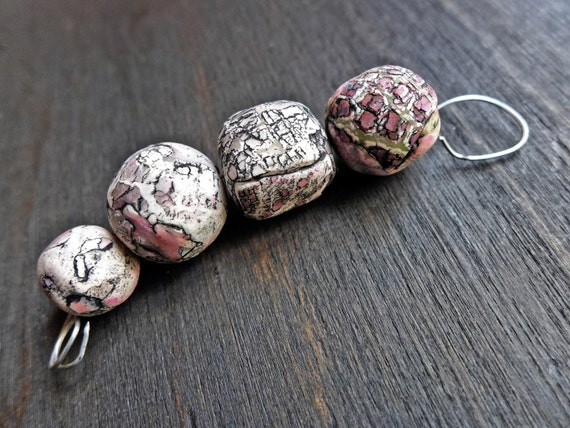 Fractured Stones- rustic crackle polymer clay art bead earring pairs (4)- handmade artisan beads- grey and pink