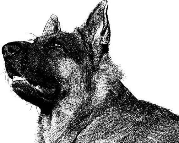 old german Shepard dog clipart png clip art Digital graphics Image Download digi stamp digital stamp animals pet printables black and white