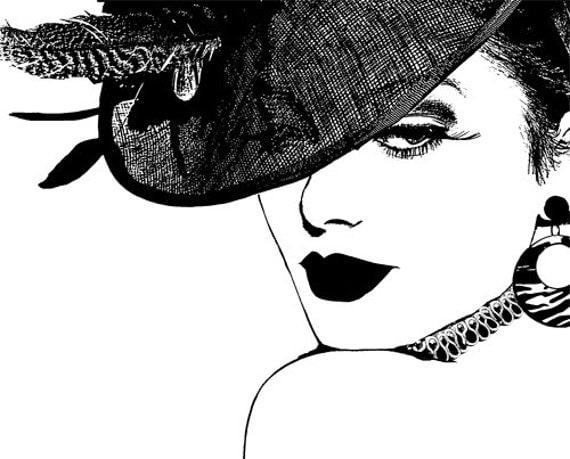 woman wearing fancy hat printable wall art printable wall decor instant download printable art digital download digital print digital paper