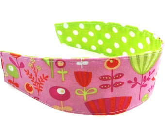 Pink lime green flowers dots cotton reversible headband baby toddler child girl women non slip fabric cloth hair scarf party favor gift m2m