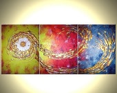 Abstract Gold Original Huge Bronze Copper Textured Painting by Lafferty - One Day Sale 22% Off