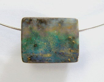 Opal Necklace, Drilled Natural Australian Boulder Opal on Omega, Free Shipping - Item 1404161