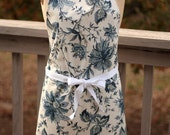Winter Clearance Apron full size chef style, blue floral