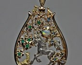 Custon Mother's Unicorn Pendant in 14, & 18K yellow and white gold reserved for namiluv