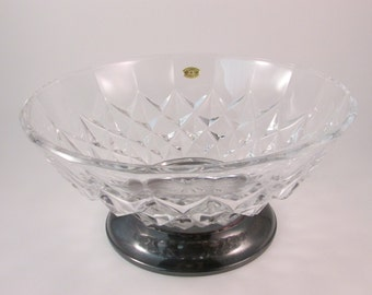 Vintage Val St Lambert Crystal Bowl with Silver Plate Base Signed and Sticker Attached Made in Belgium and Italy