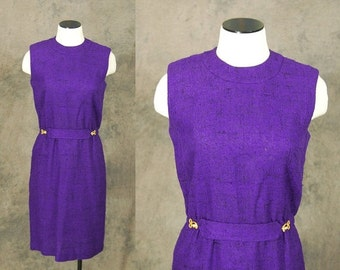 48 Hr SALE vintage 60s Dress - 1960s Mod Purple Burlap Wiggle Dress Sz M