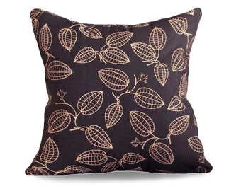 Black Tan Pillow Covers, Black Decorative Pillows, Leaves Pillow, Couch Pillows, 12x18 Lumbar, 16x16, 18x18 Custom Sizes